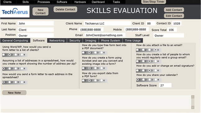 Employee Skills Evaluation - Techaerus